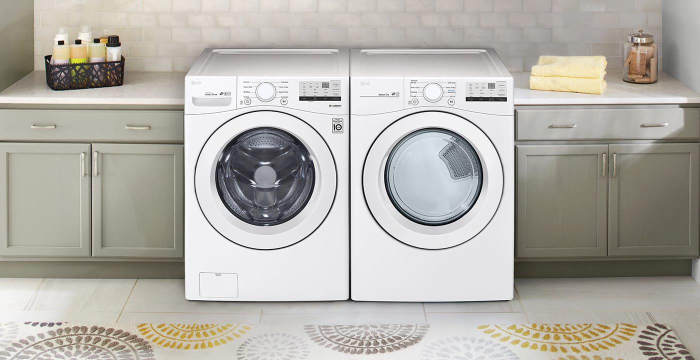LG front load laundry pair in white