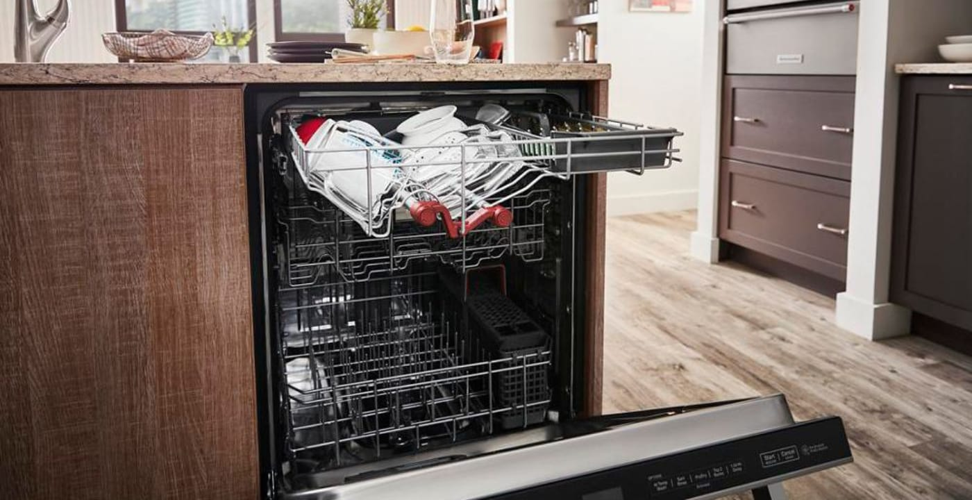 KitchenAid Dishwasher open with dishes inside