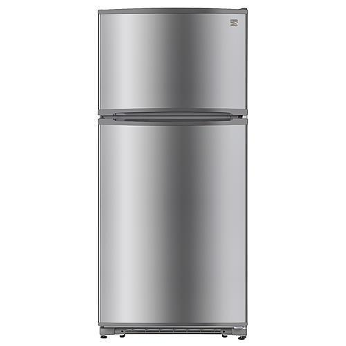 Kenmore18 Cu. Ft. Top-Freezer Refrigerator With Glass Shelves – Fingerprint Resistant Stainless Steel